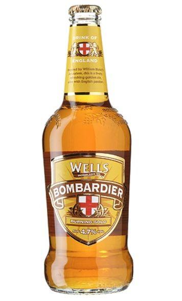 Cerveja Wells Bombardier Burning Gold, estilo Extra Special Bitter/English Pale Ale, produzida por Wells & Youngs, Inglaterra. 4.7% ABV de álcool.