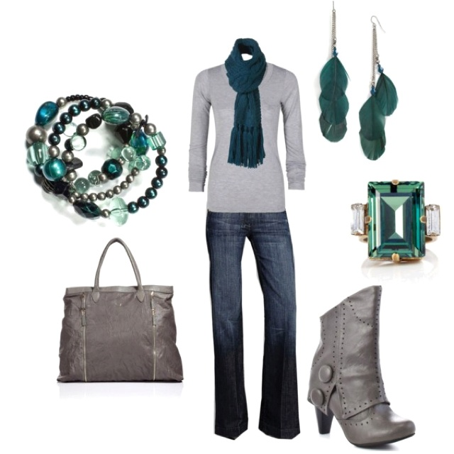 Love the teal accents and SUPER cute boots!