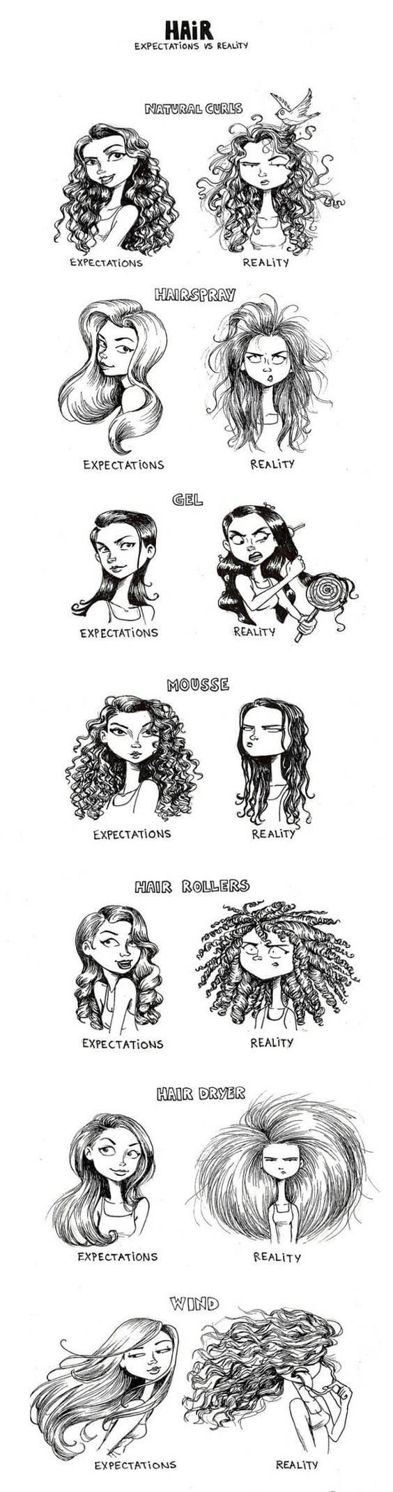 Womens Hair: Expectations Vs Reality - by C-Cassandra (http://c-cassandra.tumblr.com/about):