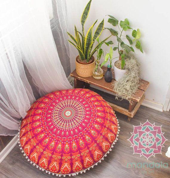 Poufs Floor Cushions Pouf Ottoman Meditation by MandalaLifeArtShop