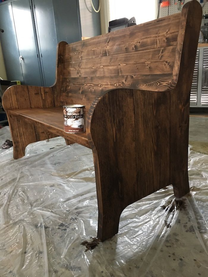 "DIY Church Pew - Free Plans - 2x10x8 (2), 2x2x8 (2), 1x10x10 (1), 1x6x10 (2), 1x2x6 (2) + pocket screws, brad nails, wood screws (2 1/2"" and 2""), wood glue, wood filler, pocket hole plugs"