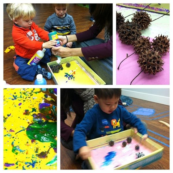 Include nature in preschool art projects.