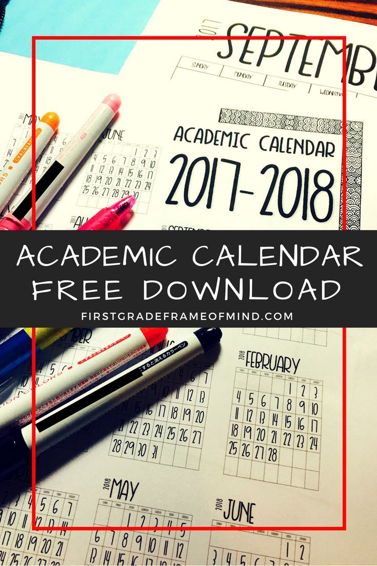 Enjoy this free 1-page vertical portrait 12-month calendar for the 2017-2018 academic school year for teachers! This is a PDF file that you download and print yourself.
