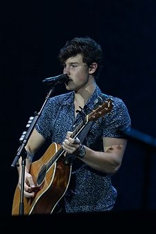 Presentation of the Canadian singer Shawn Mendes during the second day of Rock in Rio 2017 in Rio de Janeiro, Brazil, on 16 September 2017. With his first single, Life of the Party, Shawn Mendes was the youngest artist among the top 25 positions on the Billboard Hot 100.