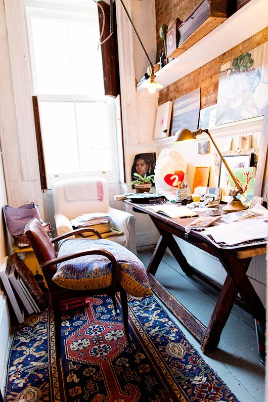 the selby meets john derian. / sfgirlbybay...simple desk table for Sarah.  Lighting is interesting too.