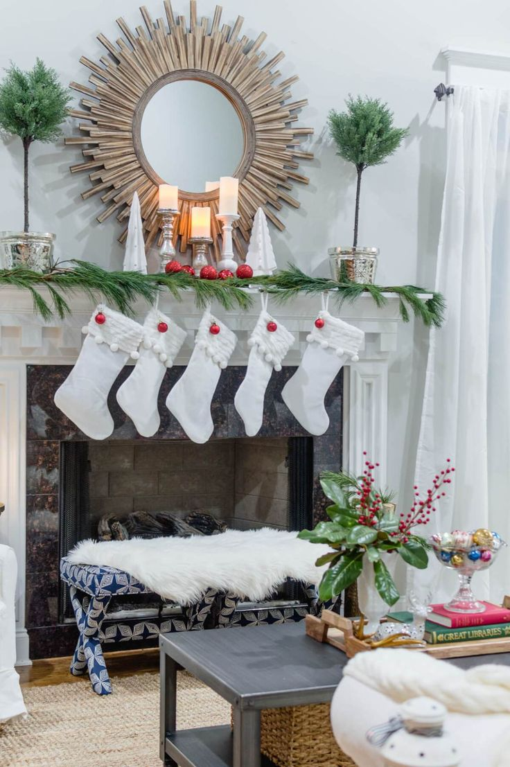 White christmas mantel decor - A Very Merry And Bright Home Tour Part 1 Simple Christmaswhite
