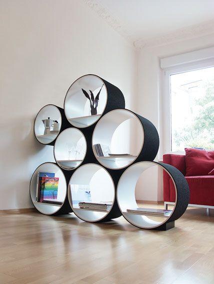 Shelf Set 7 tubes 15-piece room divider - wood white / EVA foam in black, Shelving System Flexi Tube