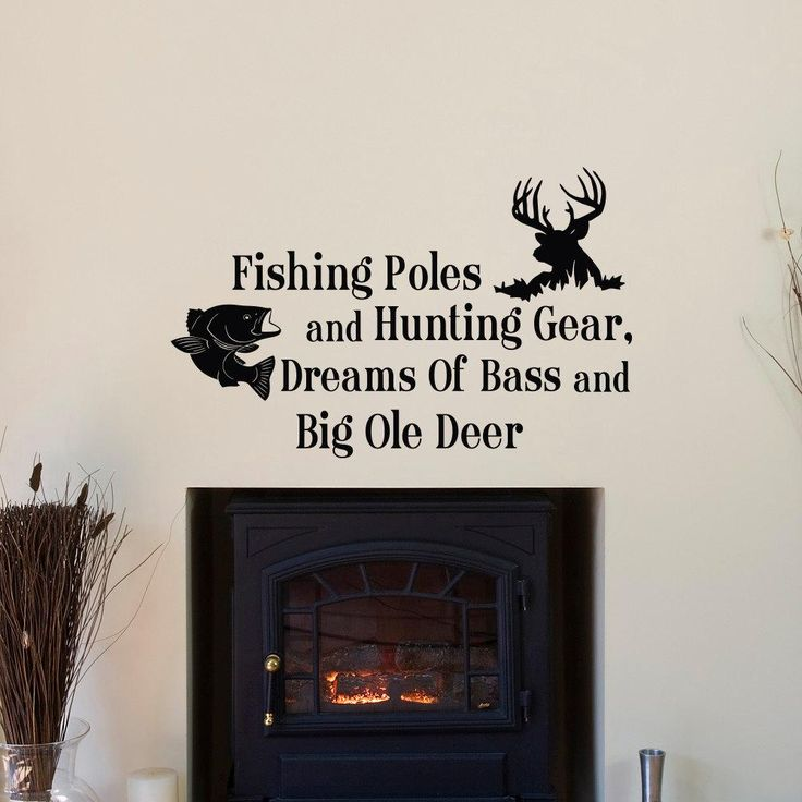 country wall decals quotes fishing poles and hunting gear dreams of bass and big ole deer bedroom kids room wall stickers jw083