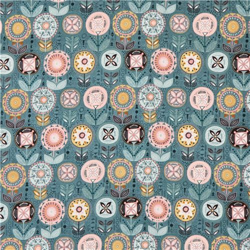 teal colorful flower pattern flower fabric by Andover - Flower Fabric - Fabric - kawaii shop modeS4u
