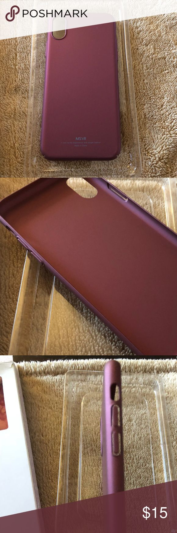 NIB iPhone X (10) Maroon Case Cover Yooki Scratch Resisitant UltraThin Slim Hard PC premium Cover Shell for 5.8 Apple IPhone X New In Box IPhone 10 (X) Maroon Case Cover. Accidentally bought 3 phone covers online by accident. Description Product Description:  Feature:  Designed to fit perfectly with the iPhone X / iPhone 10  Precise cut-outs for speakers, charging ports, camera, audio ports and buttons  High quality material fully protects your phone from scratching dropping and dust…