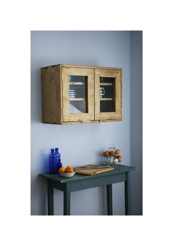Large Kitchen Wall Cabinet Eco Solid Wood 2 Glass Doors 3 Wide