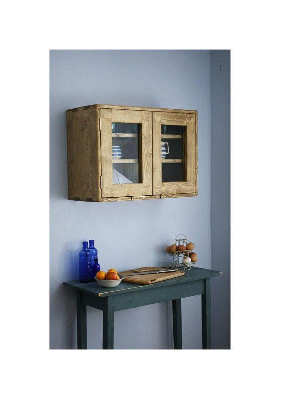 Wooden Kitchen Wall Cabinet 2 Glass Doors 3 Shelves 50hx 70w X31d