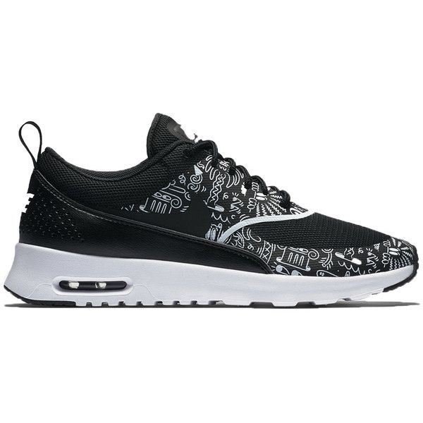 Nike WMNS Air Max Thea Print (£82) ❤ liked on Polyvore featuring shoes, sneakers, shoe club, women, white and black shoes, leather trainers, black white shoes, print sneakers and shock absorbing shoes