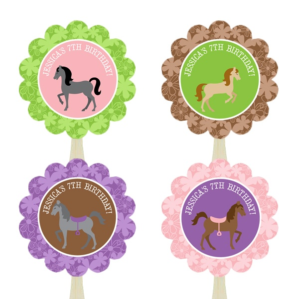 These sweet horse cupcake toppers are personalized just for you and coordinate perfectly with our other cute horse party supplies. $14.00 #horse #country #birthday #cupcake #party #ideas