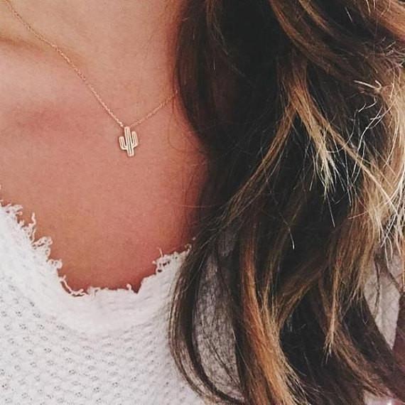 Tiny Dainty Simple Necklaces l Cactus Necklace l Arizona Jewelry l State Jewelry