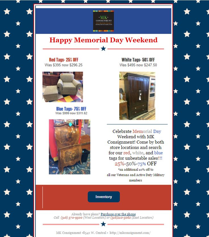 Celebrate Memorial Day Weekend with MK Consignment! Come by both store locations and search for our red, white,  and blue tags for unbeatable sales! 25%-50%-75% OFF *an additional 10% off to all our Veterans and Active Duty Military members #sale #deal #mk #consignment #memorialday #furniture #design #home #decor #homesale #homedesign