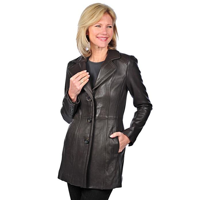 Jones New York Notch Collar Leather Jacket   #ilovetoshop