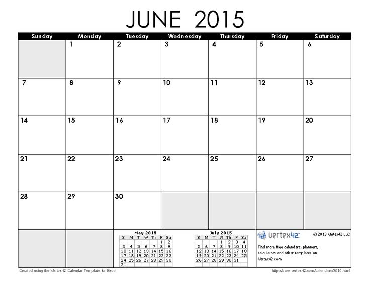 Download a free June 2015 Calendar from Vertex42.com