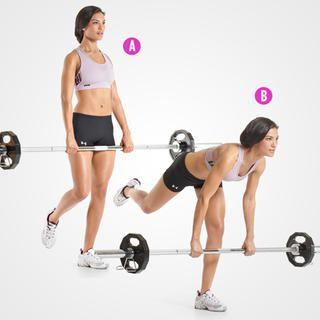 Single-Leg Barbell Straight-Leg Deadlift http://www.womenshealthmag.com/fitness/personal-trainer-butt-exercises/single-leg-barbell-straight-leg-deadlift