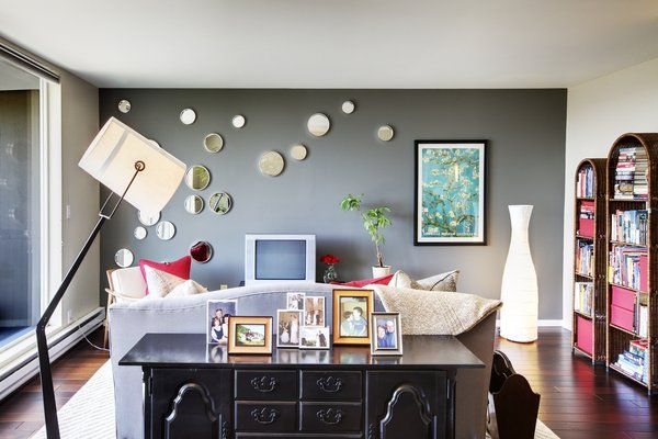 teal accent wall kitchen | The gray accent wall provides a crisp and calm atmosphere in this ...