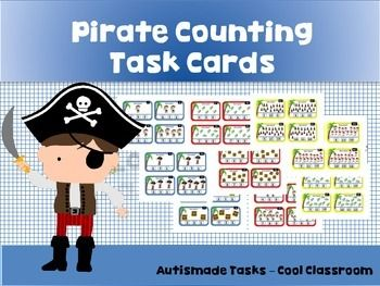 Counting Pirate Task cards - IEP-TEACCH-KindergartenPirate Themed Task Cards have 3 choices to answer, students can use pegs, dry erase markers or dabbers to mark the answers. Answer sheets have also been added for the students that can write the answers.Cards 1- 12 include counting and answering numbers 1-5 questionsCards 13-24 Includes counting and answering number 5.8 questionsCards 25-36 includes counting and answering number 9-20 questionsFrom these three sets you wil be able to choose…