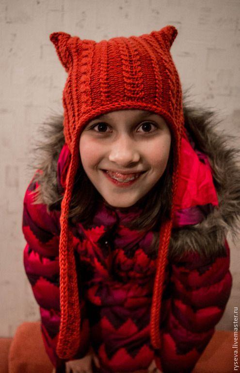 """Купить Шапка """"Озорная лисица"""" - рыжий, лисенок, лиса, забавная шапка, шапка с ушами"""