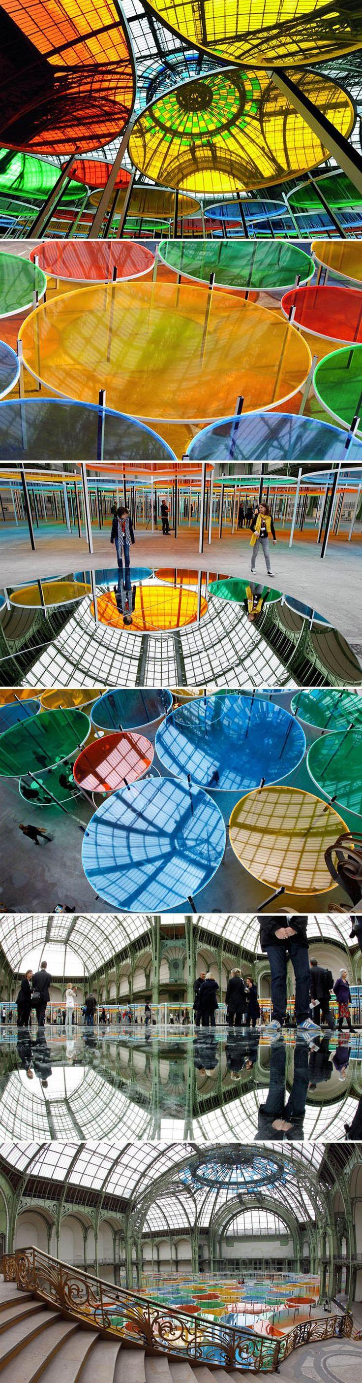 French artist Daniel Buren has unveiled his monumental installation…