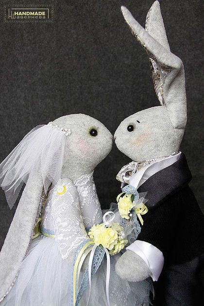 Свадебные Зайцы (Кролики). Интерьерная игрушка.. Handmade.