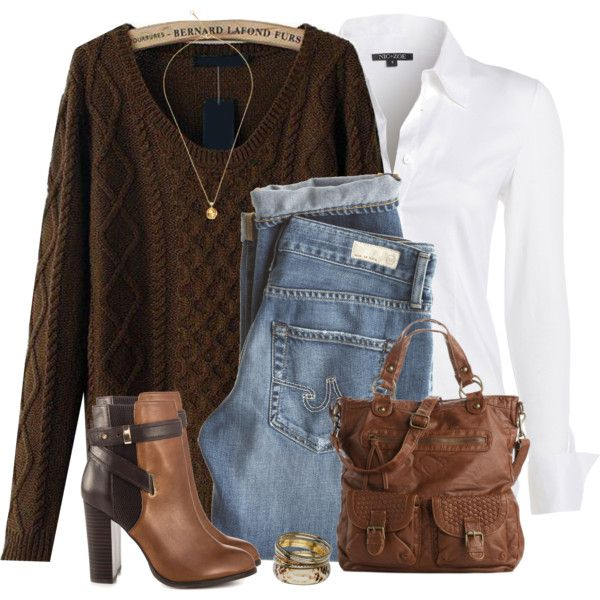 """Brown Sweater"" by daiscat on Polyvore.  Transition in style!!!  Spring is on the way, but not here, yet!"