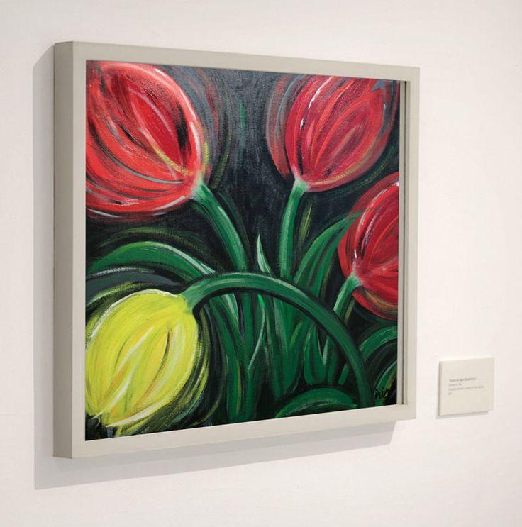 Krachtige weergave van een vrolijke voorjaarsbos met tulpen door Iris Hurkmans | Tulips | Galerie Frisselstein | #tulips #tulp #schilderij #painting #inspiration #spring #flowers