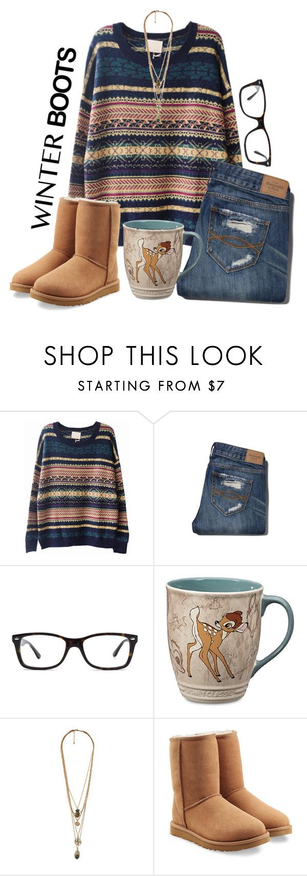 """""""winter boots"""" by thesingingmermaid ❤ liked on Polyvore featuring Abercrombie & Fitch, Ray-Ban, Disney, Forever 21, UGG Australia, Winter, Hipster, indie, sweaters and winterboots"""