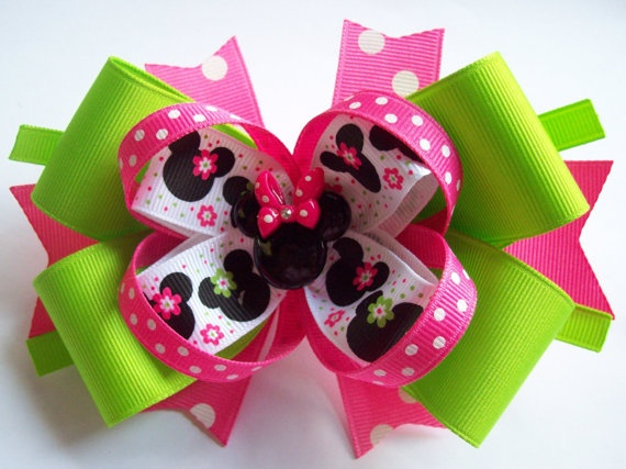 Lypple Lime Green and Pink Minnie Boutique hair bows.  This bright and colorful Miss Minne would be perfect for a visit to Disney. Great colors for summer. $8.00  http://www.etsy.com/shop/JustinesBoutique  I love to make custom made hair bows.  Looking for a perfect gift idea? Send her a handmade hair bow.