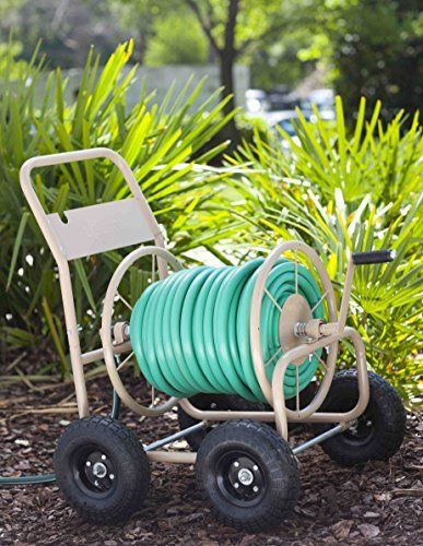 Liberty Garden Products 870-M1-2 Industrial 4-Wheel Garden Hose Reel Cart, Holds 300-Feet of 5/8-Inch Hose – Tan