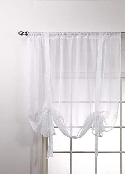 Lot Of 6 Stylemaster Bella Maison Sheer White Tie Up Valance Curtains 44x62 Cottagechic Shabbychic Welcomehome Betterhomes Windowdress