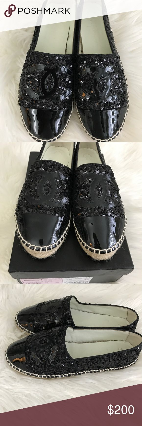 Chanel shoes Only used once this size is 8 but fits size 7.5 inspired this comes with a box, make me an offer need to sale fast coz im cleaning my closet thanks happy shopping CHANEL Shoes Espadrilles