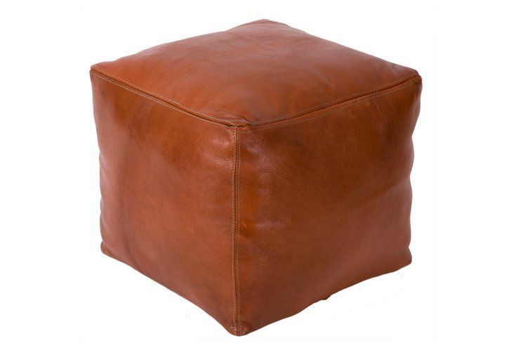 Tobacco Square Leather Pouf, Brown