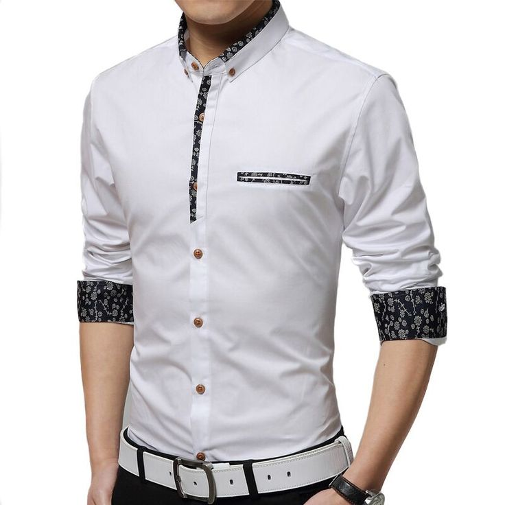 Shirt men 2015 new men Slim casual long-sleeved shirt solid color floral fashion hit color shirt large size men M-5XL