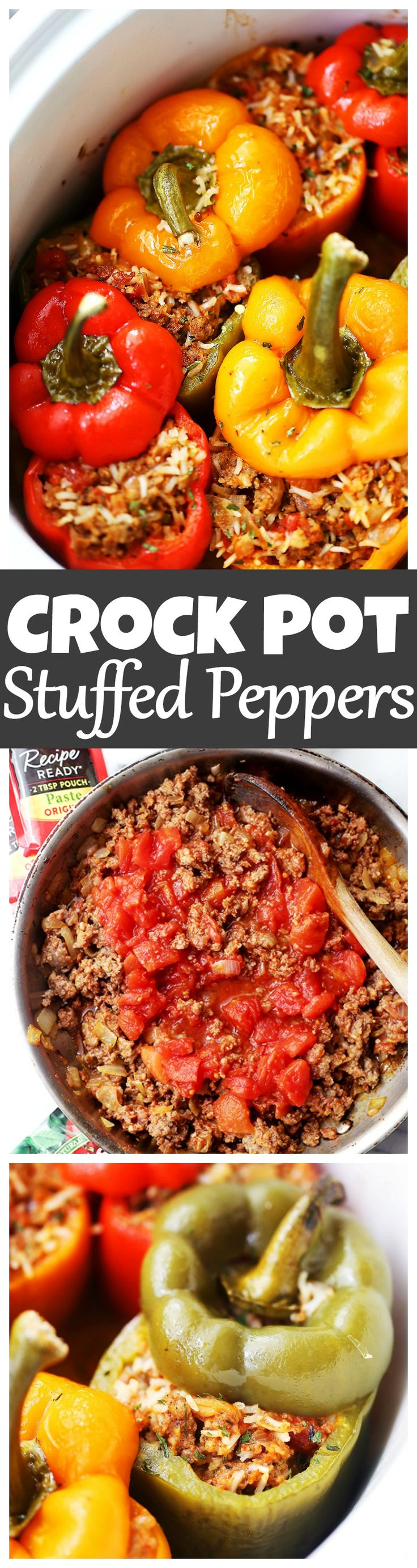 Crock Pot Stuffed Peppers - Loaded with spicy pork sausage, rice and tomatoes, these hearty and flavor-loaded peppers are the easiest and most perfect meal to serve to your family, and are also great for game day parties! #ad with @Hunt's Tomatoes #HuntsDifference