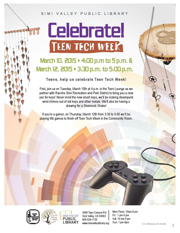 Join us on Tuesday, March 10th at 4 p.m. in the Teen Lounge as we partner with  Rancho Simi Recreation and Park District to bring you a new use for keys! We'll be making steampunk wind chimes out of old keys and other metals.  If you're a gamer, on Thursday, March 12th from 3:30 to 5:00 we'll be playing Wii games to finish off Teen Tech Week in the Community Room. #svpl #simivalley #teentechweek #steampunk
