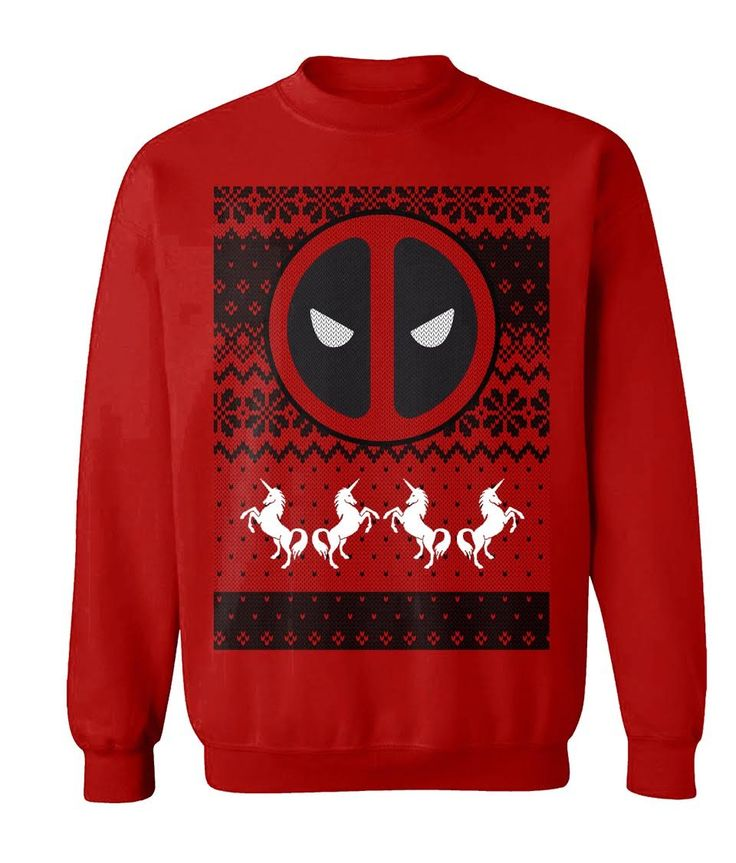 Preorder: Due ship 30th October 2016 Officially-licensed Deadpoolmerchandise Warm sweater with a printed design Design features Deadpool, unicorns, and other festive decorations