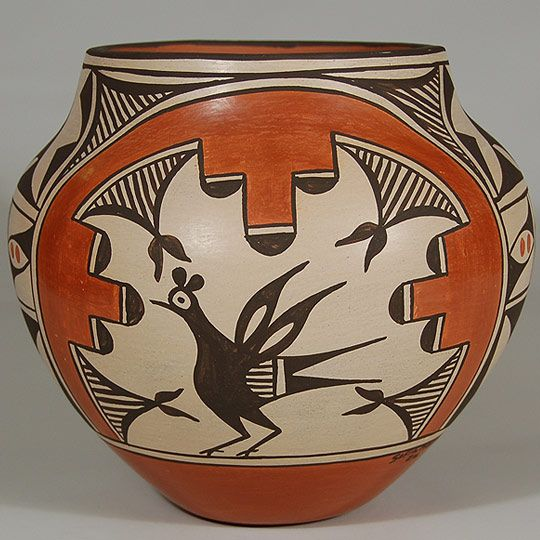 #adobegallery - Contemporary Zia Pueblo Polychrome Olla with Birds by Sofia Medina (1932- ) - Sofia Medina is certainly one of the best known of that generation of potters from Zia Pueblo.  She and her new husband Rafael (1929-1998) lived with his grandmother, Trinidad Medina who taught Sofia the techniques of potting. Her mentor, Trinidad, was one of the most talented potters at Zia and Sofia learned well and produced quality wares throughout her life.