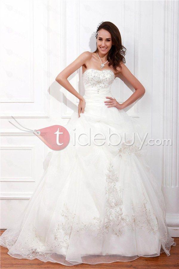 Elegant A-Line Sweetheart Sleeveless Beading Embroidery Renata's Wedding Dress