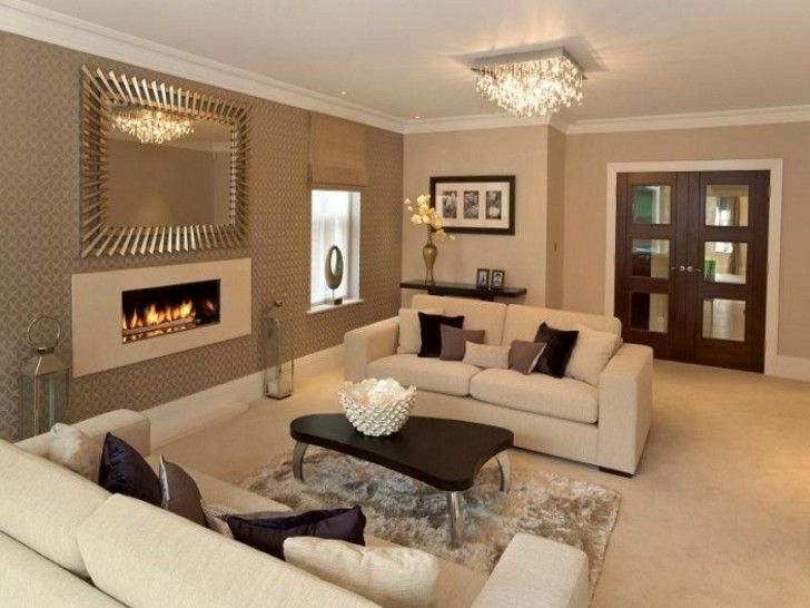 Interior Grey Accent Wall Living Room And Rectangle White Fireplace Combined By Sofa Black Brown Cushions Also Dark