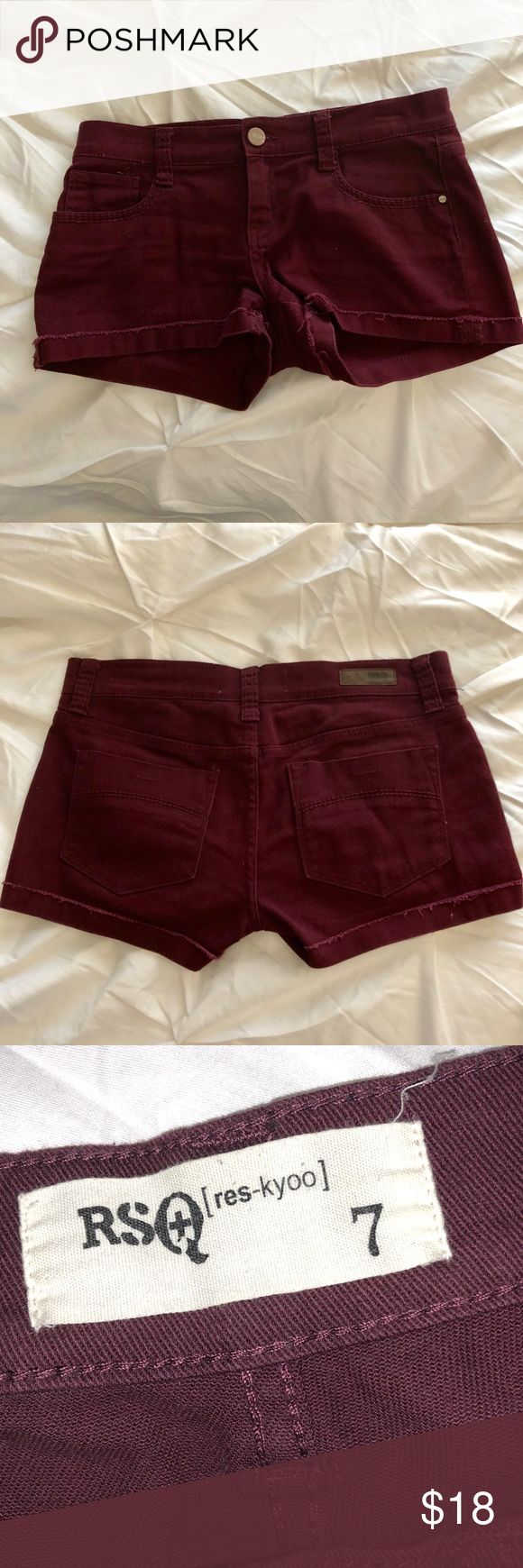 RSQ MAROON SHORTS Gently used but in excellent condition!  Maroon or burgundy in color Tilly's Shorts Jean Shorts