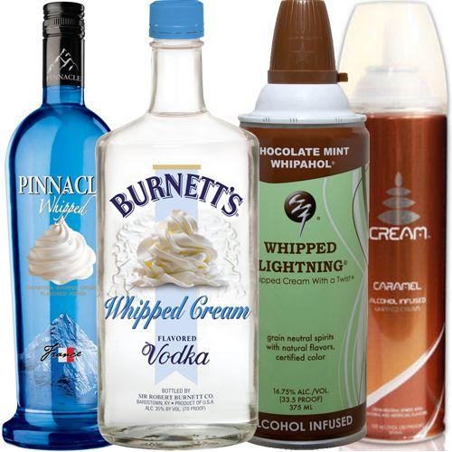 Whipped cream vodka w/ alcohol infused whipped cream on ...