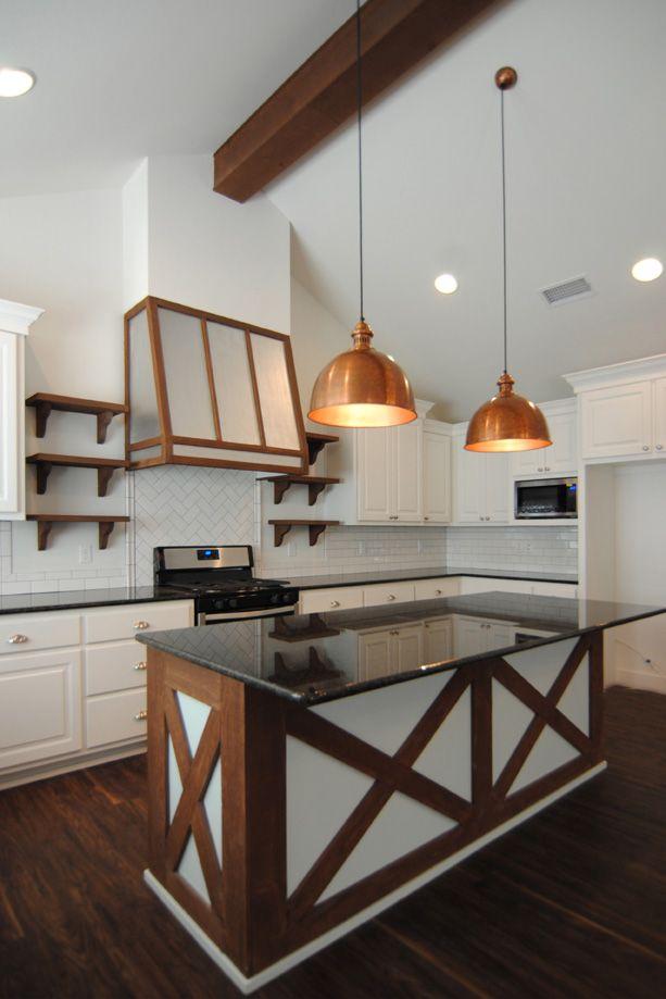 kitchen by ventura homes farmhouse cozy stained wood copper pendants mint - Ubahnaufkantung Grau