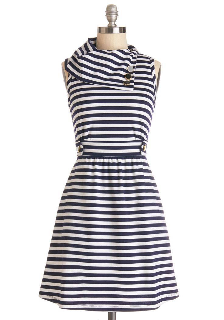 Similar neck from the other (navy sweater_ tutorial. Sleeveless.   Coach Tour Dress in Navy Stripes, #ModCloth