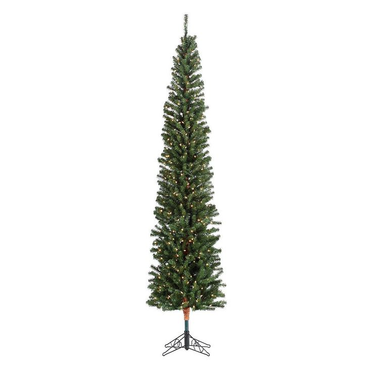 Sterling 7 1/2-ft. Pencil Fir Pre-Lit Artificial Christmas Tree, Green