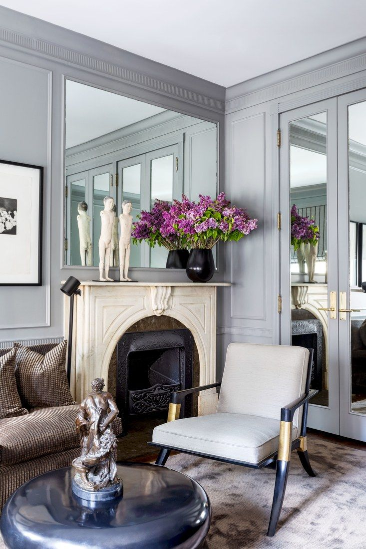 Gorgeous Grey Mirrored Sitting Room With Marble Fireplace And Velvet Sofa On Thou Swell Affordable Interior Design Apartment Inspiration Decor Interior Design