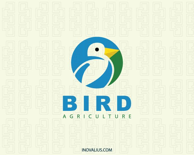 Circular logo composed of abstract shapes forming a bird in negative space with blue, yellow and green colors.( bird, agriculture, animal, cute, farm, farming, abstract, circle, veterinary, evergreen, bird store, shopbird, sustainable agriculture,  logo for sale, logo design, logo, lototipo, logotype).
